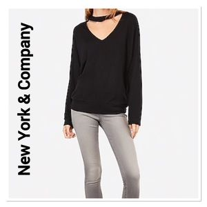 New York & Company Black Choker Neck Sweater